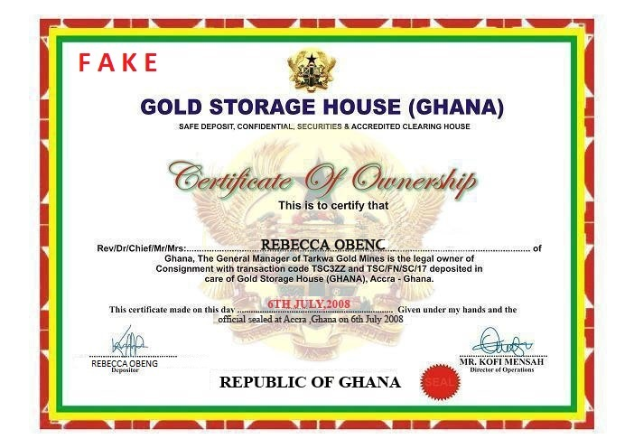 Depot Ghana Gold Fake